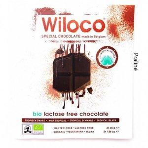 Wiloco Lactosevrije Chocoladereep 'Puur' met Praliné - 90g - BIO