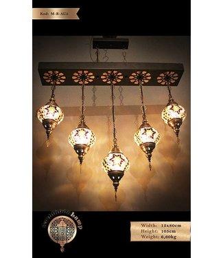 5 mozaik lampen naast elkaar bruin gekleurd