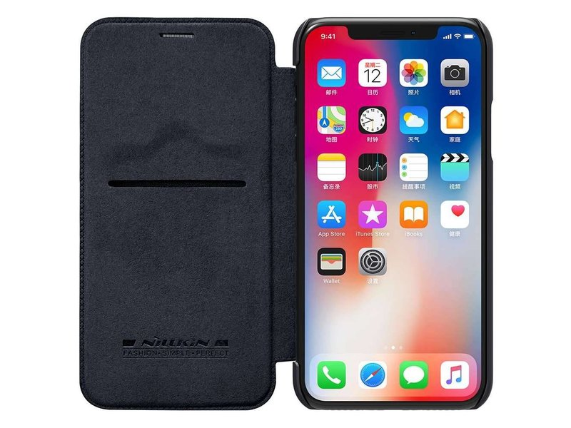 Nillkin Nillkin Qin Leather Case Apple iPhone X (Black)