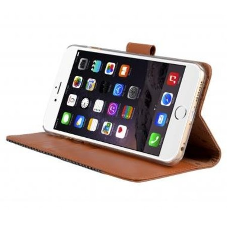 Melkco Melkco Wallet Book Case Holmes Find Grid Grijs/Bruin voor Apple iPhone 6 Plus/6S Plus
