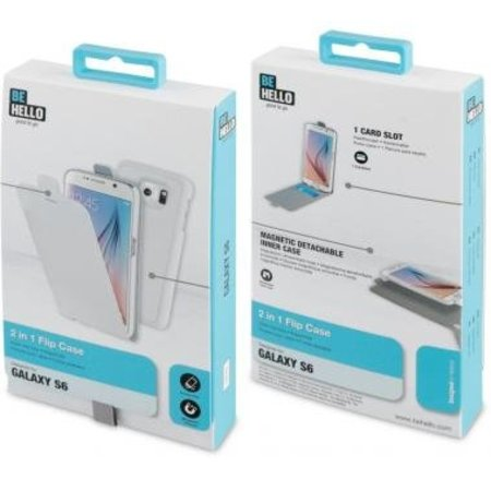 BeHello BeHello 2 in 1 Wallet Flip Case Wit voor Samsung Galaxy S6