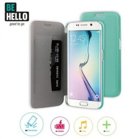 BeHello BeHello Book Case Groen voor Samsung Galaxy S6 Edge