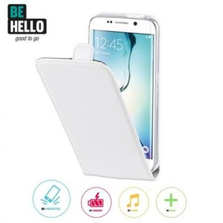 BeHello BeHello Wallet Flip Case Wit voor Samsung Galaxy S6 Edge