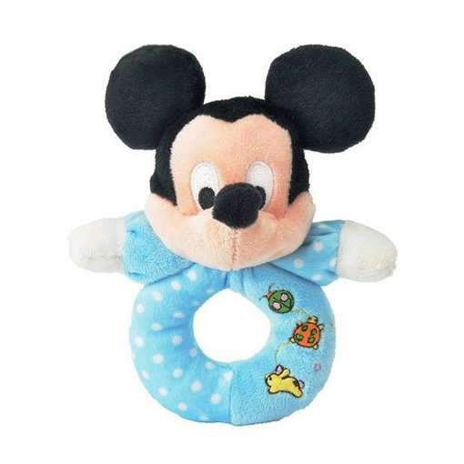 Disney Mickey Mouse baby pluche rammelaar / bijtring blauw
