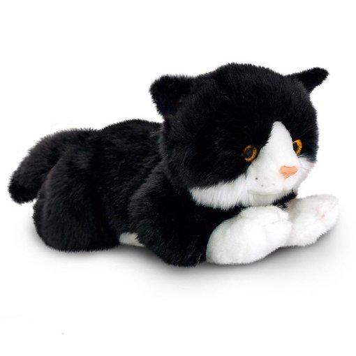 Kat knuffel zwart wit 'Smudge'