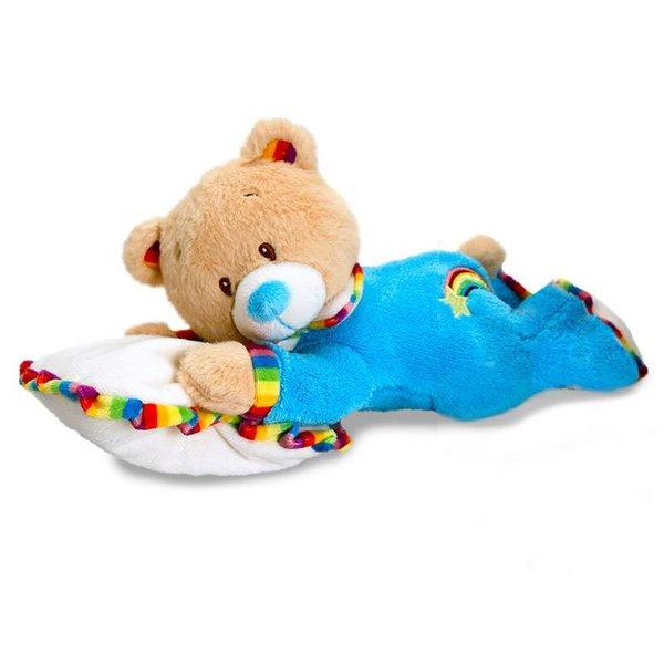 Teddybeer baby knuffel op kussentje (Rainbow Collection)