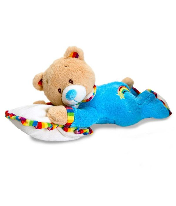 Teddybeer baby knuffel op kussentje (Rainbow Collection)