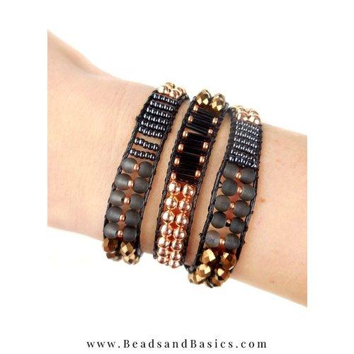 Zelf Een Wrap Armband Maken -Zwart Met Rose Goud