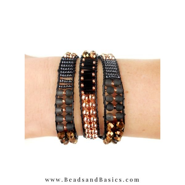A self Wrap Bracelet Making -Black With Rose Gold