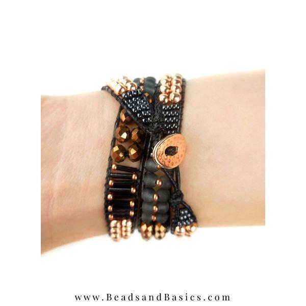 Black with Rose Gold Wrapbracelet