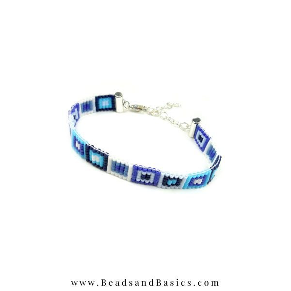 Self Bracelets Making With Miyuki beads - Blue with White