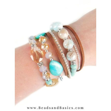 Self A Beautiful Bracelet Making With Magnetic closure - Brown With Turquoise