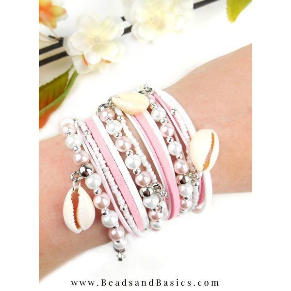 Pink Wrap Bracelet Making With Shells