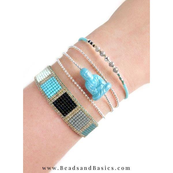 Buddha Aqua Blue Shine Acrylic Bead 20x13mm, 3 pieces