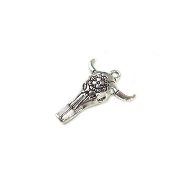 Boho Buffalo Silver Charm 32x26mm, 4 pieces