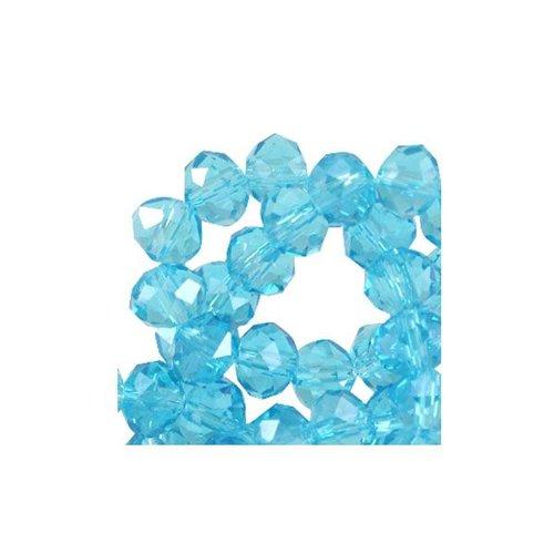 50 stuks Facet Glaskralen Aqua Blauw Shine 6x4mm