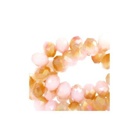 50 pieces Facet Bead Shine Duo Salmon 6x4mm
