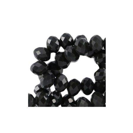 30 pcs Facet Bead Black Shine 8x6mm