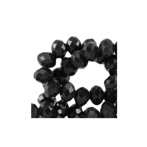 30 stuks Facet Glaskralen Zwart 8x6mm