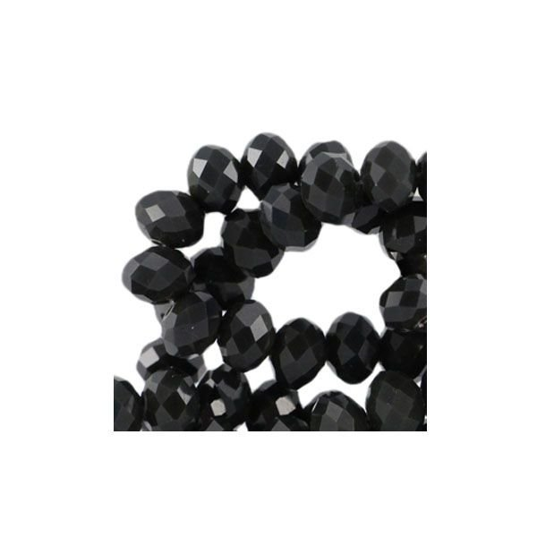 Facet Bead Black Shine 8x6mm, 30 pieces