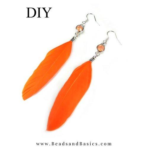 King's Orange Feather Earrings
