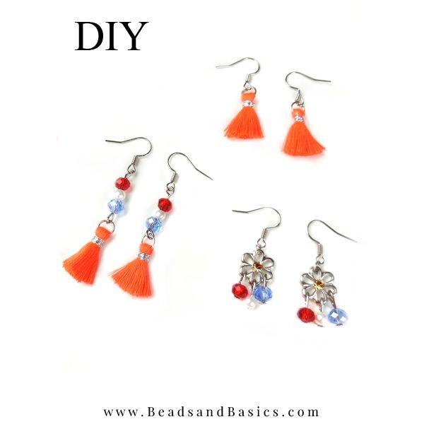 Red White Blue Earrings For King's Making