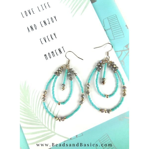 Beautiful Earrings Making Beads - Blue With Silver