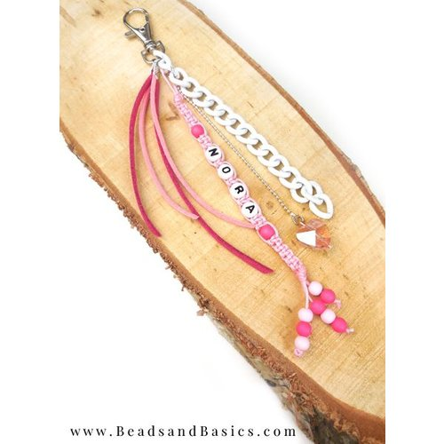 Macrame Keychain with Letter Beads - Pink and White