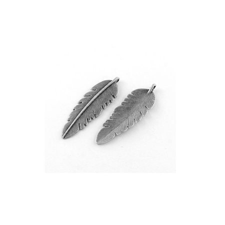 5 pieces Large Feather Charm Silver 56x18mm
