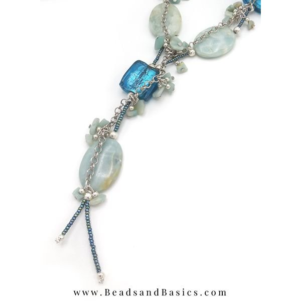Blue Statement Necklace Making With Gemstone Beads
