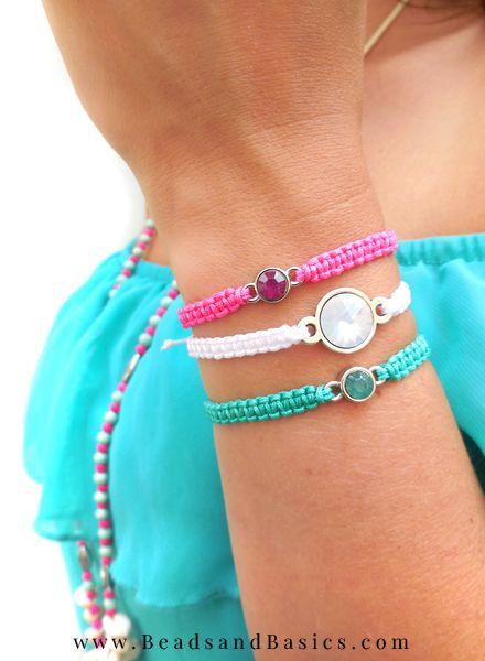 macrame armbandjes knopen met tussenzetsel - beads & basics