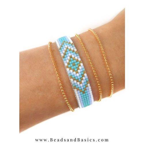 Zelf Een Blauwe Miyuki Armband Weven