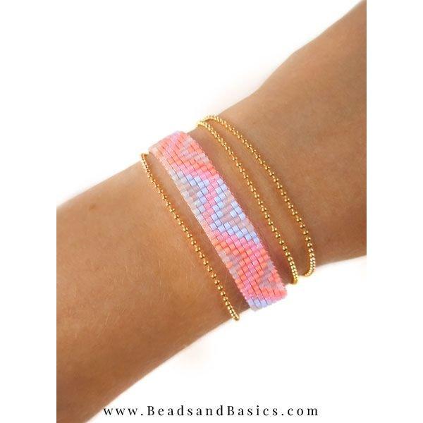 Roze Miyuki Armband Weven