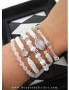 Set of Bracelets Made With White And Silver Beads