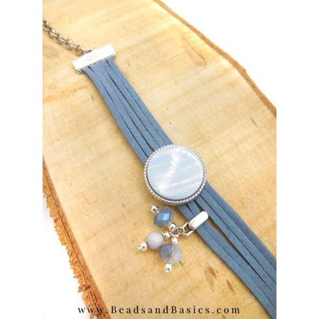 Make A Bracelet Of Suede Folders With Slider - Blue