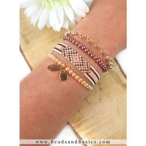 Miyuki Woven Beadloom Bracelet  Rosé Gold With Brown
