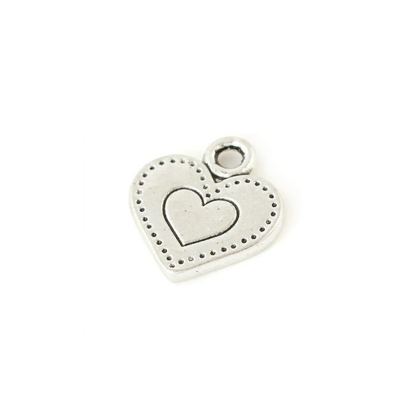 Heart Charm Silver 13mm, 8 pieces