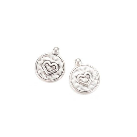 5 pieces Round Charm with Heart 20x16mm