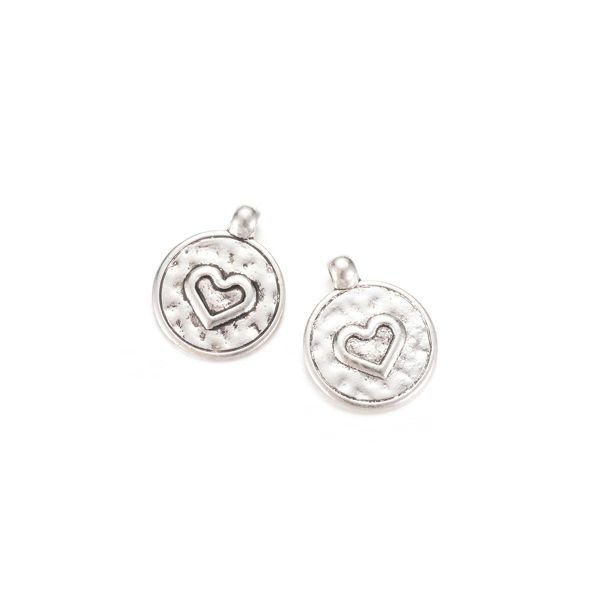 Round Charm with Heart 20x16mm, 5 pieces
