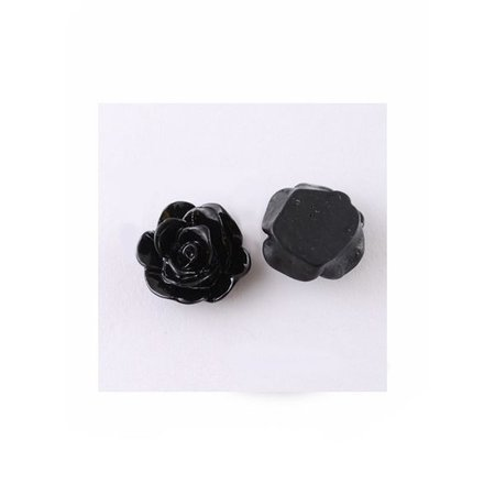 Cabochon Rose Black 13x8mm, 8 pieces