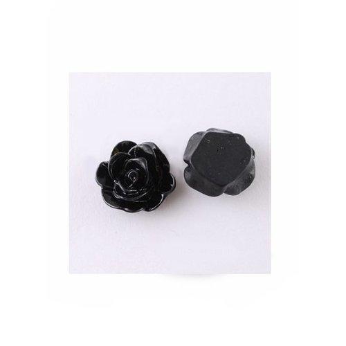Cabochon Rose Black 13x8mm, 8 pieces