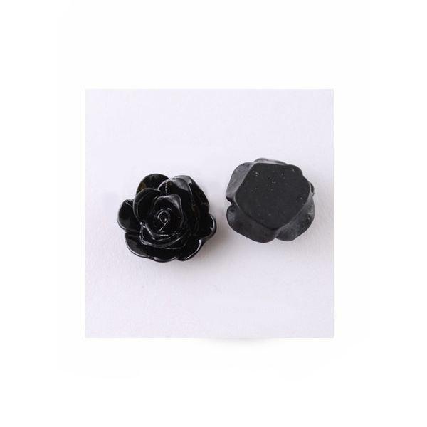 Roos Cabochon Zwart 13x8mm, 8 stuks