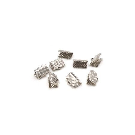 Fold Over Cord Ends Silver 8x6mm