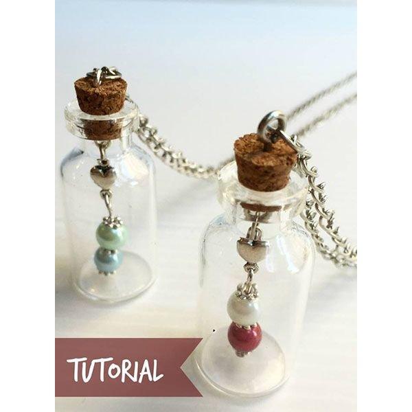 Glazen flesje - Wish bottle ketting maken