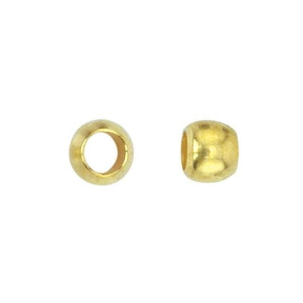 Crimp Beads Gold 3.5mm, hole size 2.2mm, 20 pieces