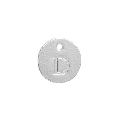 Initial Charm Silver 12mm Letter 'D'