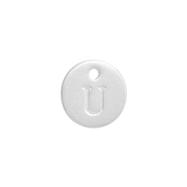 Initial Charm Silver 12mm Letter 'U'