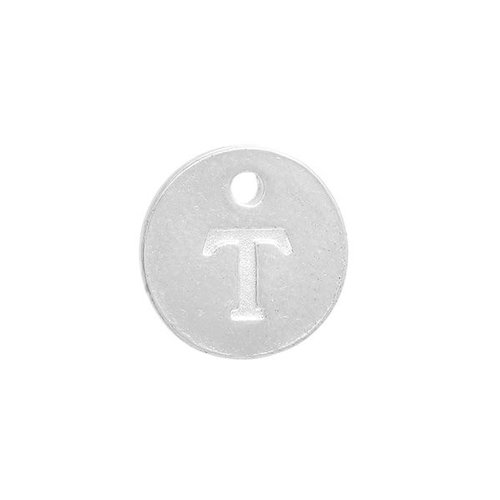 Initial Charm Silver 12mm Letter 'T'