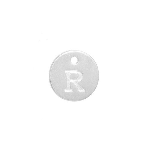 Initial Charm Silver 12mm Letter 'R'