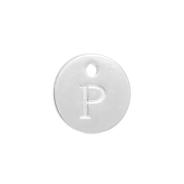 Initial Charm Silver 12mm Letter 'P'